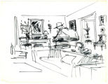 Sketch from the Albert Hadley Interior Design Collection